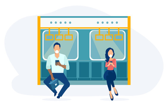 Vector of a man and a woman in public transport wearing face masks
