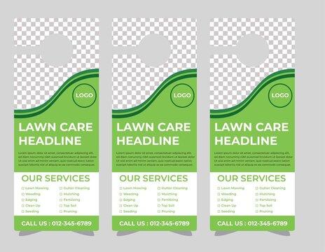 lawn care door hanger design template, hotel knob design. Vector door hanger.
