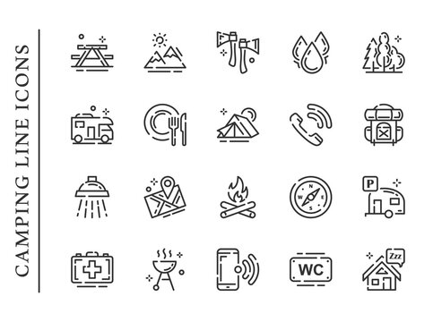 Camping line icons set isolated on white background