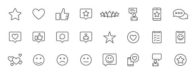 Obraz Set of 24 Feedback and Review icons in line style. Star Rating, Emotion symbols. Vector illustration. - fototapety do salonu