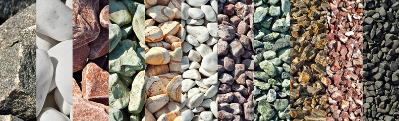 Fototapeta Drainage systems from small pebbles. Garden drainage for plants and trees. Collage of different types of stones. Decorative stones of different colors and sizes. obraz