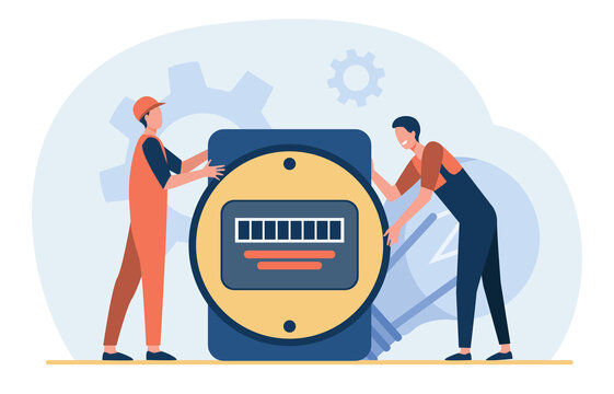 Cartoon tiny electricians holding giant electrical counter. Flat vector illustration. Charge register, power monitor providing energies control, service. Electricity, energy concept for banner design