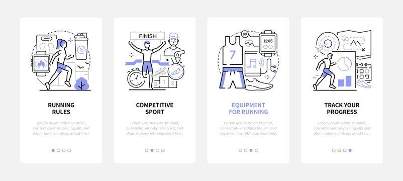 Running - modern line design style web banners