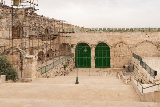 Renovation  restoration work of old buildings on the Temple Mount in the Old Town of Jerusalem in Israel