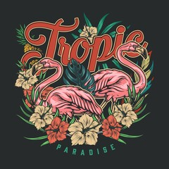 Colorful tropic vintage emblem