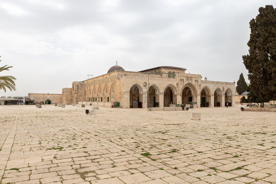 The main fasade of the Al Aqsa Mosque on the Temple Mount in the Old Town of Jerusalem in Israel