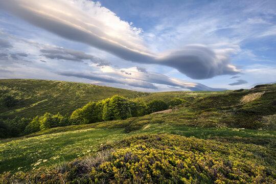 Lenticular clouds on Cusna mountain, Cusna mountain, Appenines, Emilia Romagna, Italy