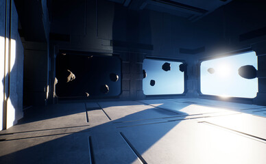 A sci-fi interior of a spaceship with windows showing meteorites in space.