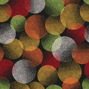 Seamless colorful circles pattern. Abstract vector bubbles background.