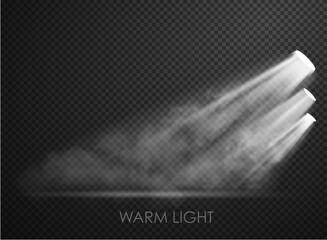 Obraz warm light set of bulb on a transparent background - fototapety do salonu