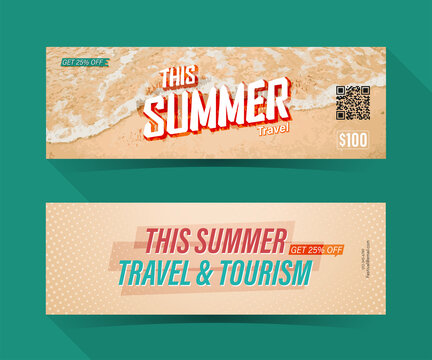 This Summer travel, coupon ticket card. element template for graphics design. Vector illustration