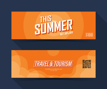 This summer season with sunset. coupon ticket card. element template for graphics design. Vector illustration