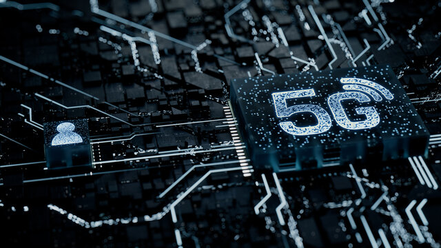 Wireless Technology Concept with 5G symbol on a Microchip. White Neon Data flows between the CPU and the User across a Futuristic Motherboard. 3D render.