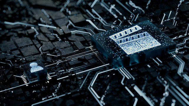 Entertainment Technology Concept with movie symbol on a Microchip. White Neon Data flows between the CPU and the User across a Futuristic Motherboard. 3D render.