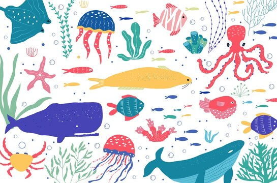 Underwater creatures fish, jellyfish, octopus, clownfish, seaplants and corals, set with marine animals for fabric, textile, wallpaper, nursery decor, prints, childish background.