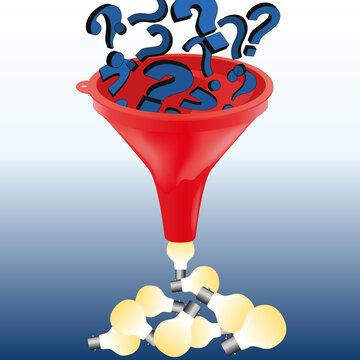 Concept de la solution pour répondre à un problème avec comme symbole des points d'interrogations qui se transforment en idée en passant au travers un entonnoir.
