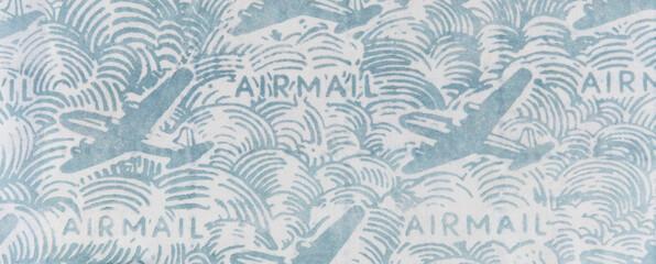 luftpost airmail air mail briefumschlag envelope innen inside innenseite design muster pattern papier paper flugzeug plane