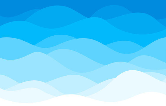 Blue water wave river sea curve lines pattern abstract background vector