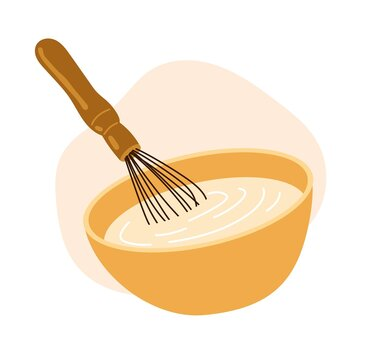 A bowl with white sauce, dough and whisk. Cooking recipe icon, mixing ingredients. Bakery design element. Simple hand-drawn illustration, isolated on white background.