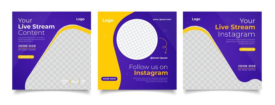 Live streaming youtube, tiktok and instagram social media post template