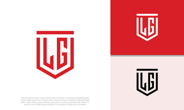 Initials LG logo design. Initial Letter Logo. Shield logo.