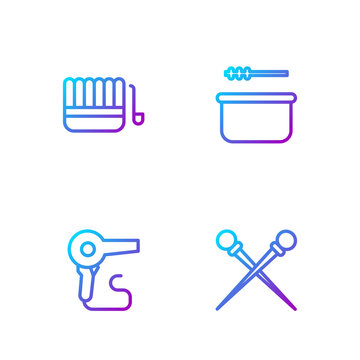 Set line Knitting needles, Hair dryer, Sauna bucket and ladle and . Gradient color icons. Vector