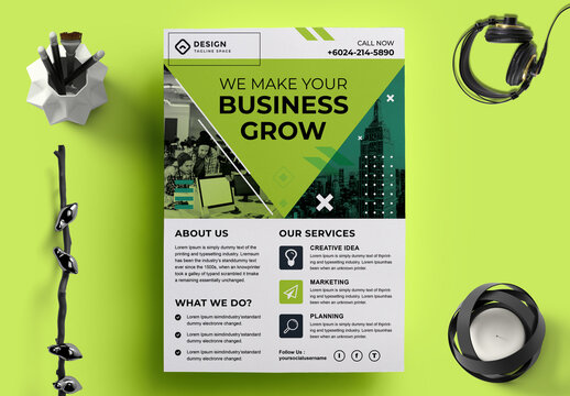Corporate Flyer Layout with Image Header