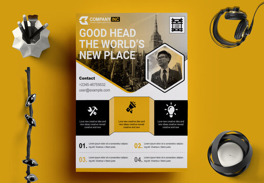 Corporate Flyer Layout with Yellow Elements