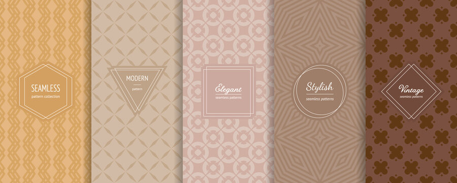 Geometric seamless patterns collection. Vector set of stylish pastel backgrounds with elegant minimal labels. Abstract modern ornament textures. Trendy nude color palette, yellow, beige, brown, latte