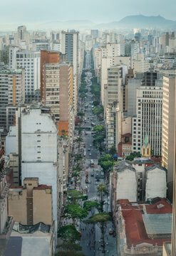 Aerial view of downtown Sao Paulo and Sao Joao Avenue - Sao Paulo, Brazil
