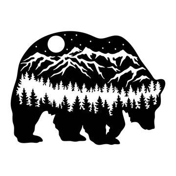Bear Wildlife Stencils - Forest Landscape, Wildlife clipart, Cut file, iron on, vector, vinyl shirt design.