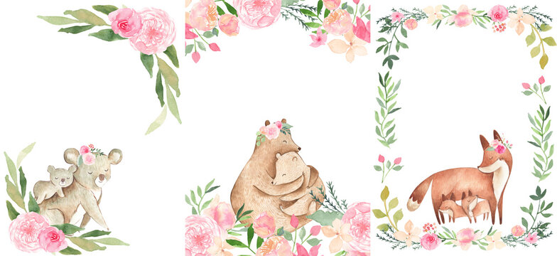 Watercolor Animals Baby and Mom invitation frame floral templates