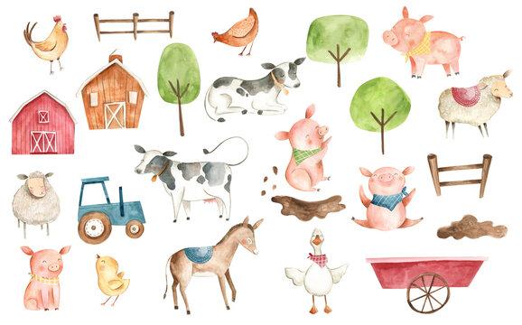 Watercolor animals Farm illustration pig cow chicken duck donkey