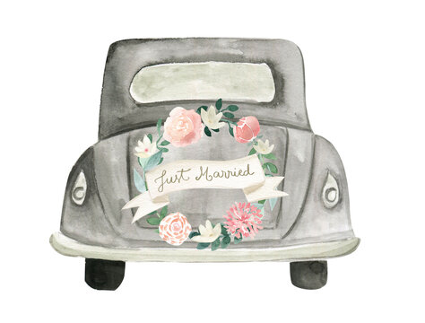 Watercolor wedding  just married car boho floral illustration