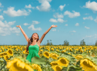 Happy free Asian woman dancing with arms up of hapiness in sunflowers field celebrating spring...