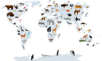 Obraz Vector map of the world with animals. Europe, Asia, South America, North America, Australia, Africa. - fototapety do salonu