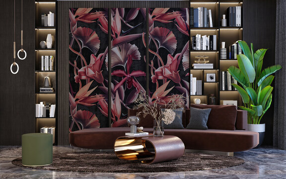 Modern living room design library and wallpaper decoration of tropical forest and plant leaves in dark red color Sofas with lighting table and decorative plants