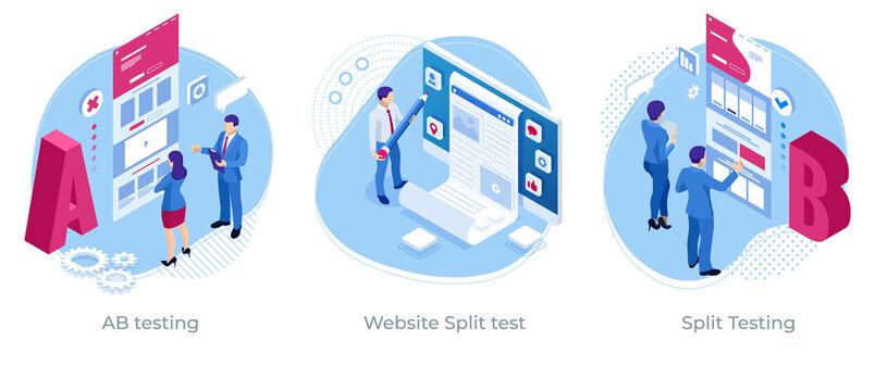 Isometric AB testing, comparison concept. Split Testing web page comparing. Website Split test