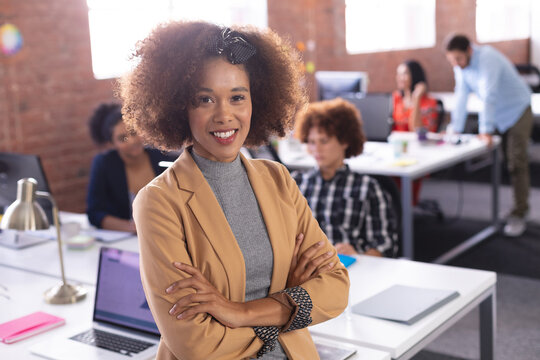 Portrait of african american businesswoman at the office looking to camera