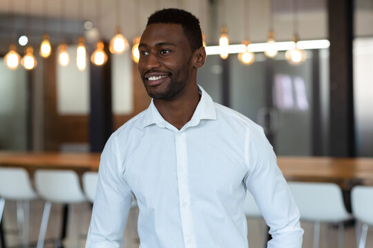 Portrait of happy casual african american businessman in office