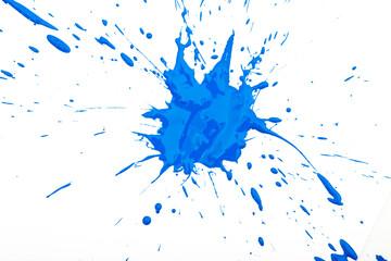 Fototapeta Blot and splashes of blue paint isolated on white background obraz