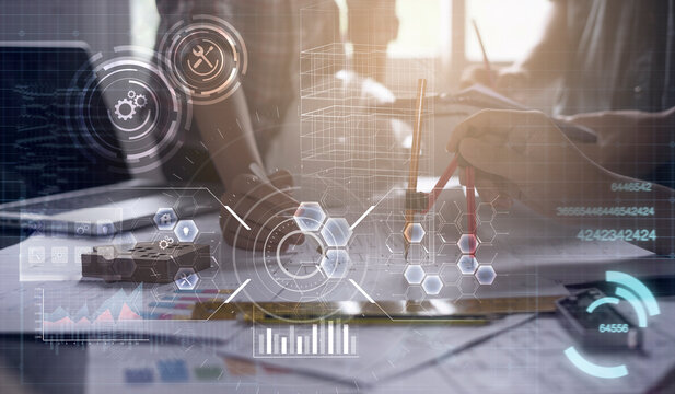 Architecture engineering civil project modern smart technology close up compass building blocks planning blueprint design construction work in office futuristic graphic icon concept digital background