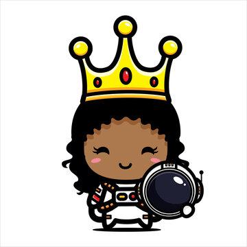 cute afro girl queen cartoon character design wearing astronaut costume