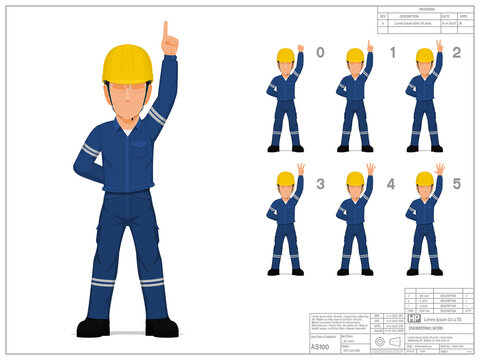 Set of industrial worker raise hand 0-5 on white background