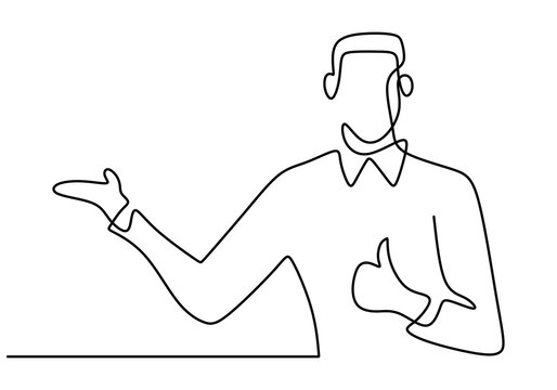 One single continuous line drawing of young professional businessman is standing and give thumbs up gesture. Success business manager concept isolated on white background. Vector illustration