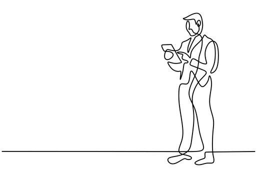 One continuous single line drawing of young businessman stand up and carrying laptop or tablet smartphone on his hand isolated on white background. Business service excellence concept
