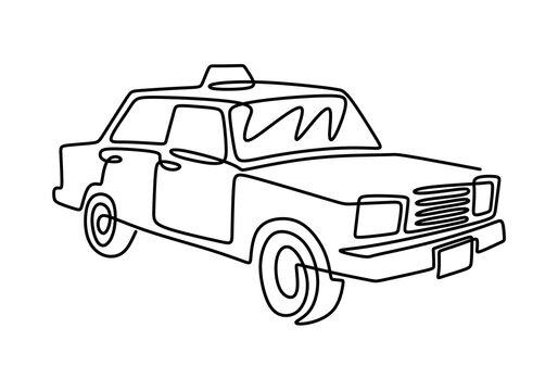 Retro car in continuous line art drawing style. Classical sedan car isolated on white background. Vintage automobile minimalist black linear sketch minimalist style. Vector illustration