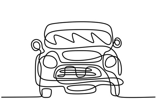 One continuous line drawing of classical BWM Mini Cooper Sport car. Vintage racing car driving on dusty road. Classic transportation vehicle concept. Minimalist line hand draw design illustration