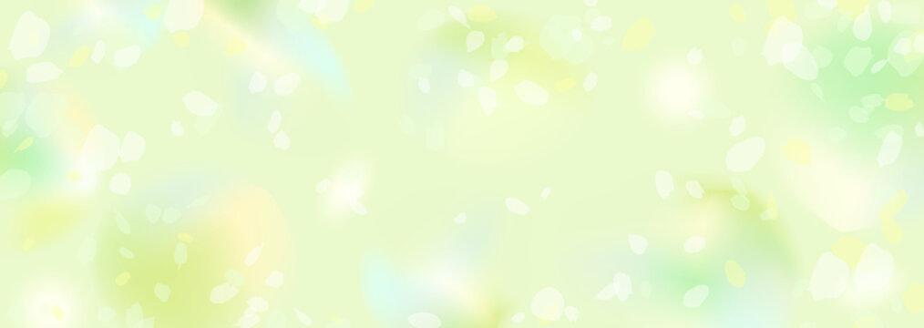 ぼんやりぼやけた新緑の横長背景イラスト