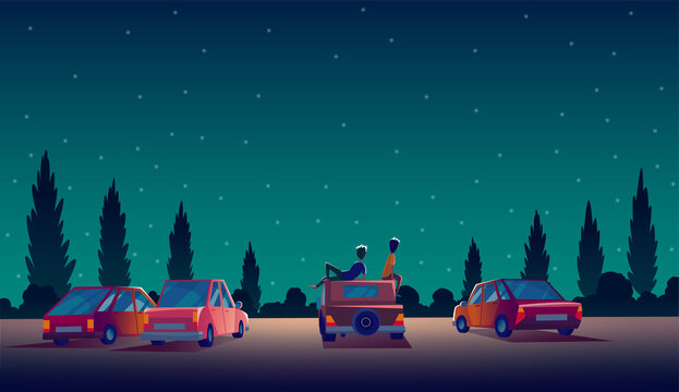 Car street cinema. Drive-in theater with automobiles stand in open air parking at night. Cinema night vector banner in cartoon style. Audience on open air parking in darkness